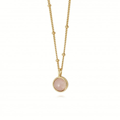 Rose Quartz Healing Stone Necklace 18Ct Gold Plate
