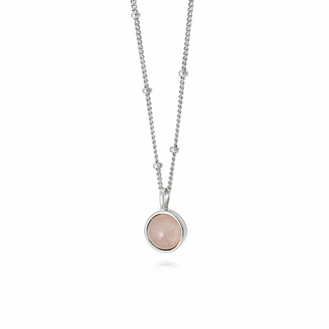 Rose Quartz Healing Stone Necklace Silver