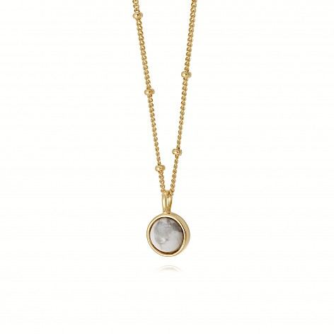 Howlite Healing Stone Necklace 18Ct Gold Plate
