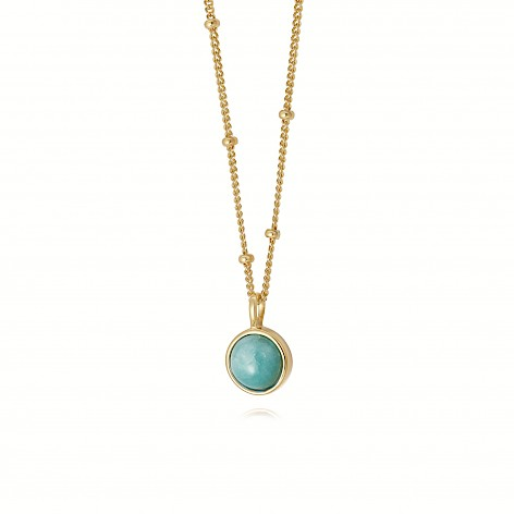 Amazonite Healing Stone Necklace 18Ct Gold Plate