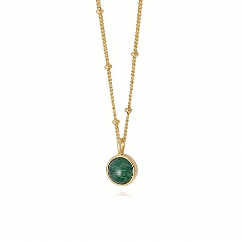 Green Aventurine Healing Stone Necklace 18Ct Gold Plate