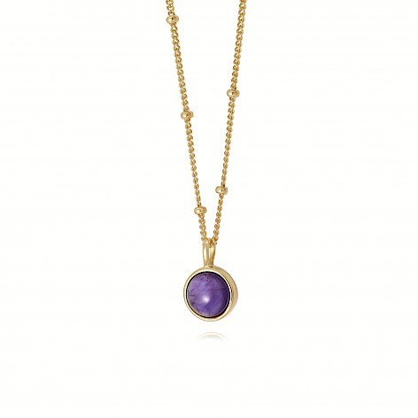 Amethyst Healing Stone Necklace 18Ct Gold Plate