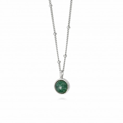 Green Aventurine Healing Stone Necklace Silver