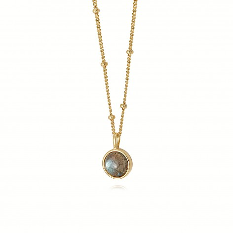 Labradorite Healing Stone Necklace 18Ct Gold Plate