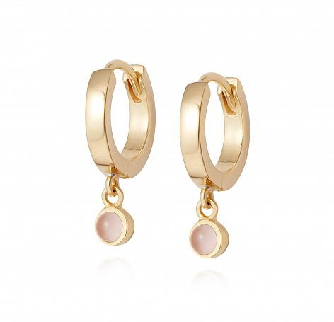 Rose Quartz Healing Huggie Hoops 18Ct Gold Plate